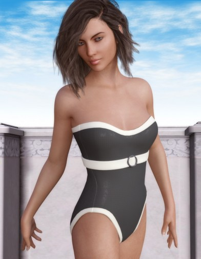 Front Buckle Swimsuit for Genesis 3 Female image