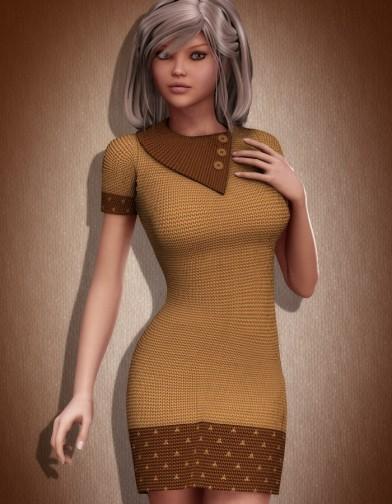 Short Sleeve Knit Dress for V4 Image