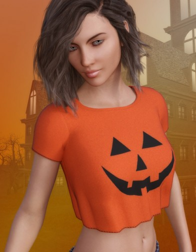 Pumpkin Shirt for Genesis 3 Female image