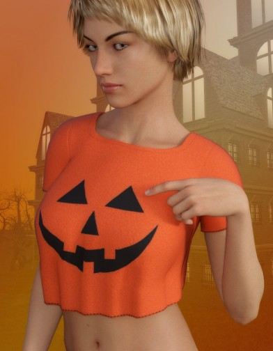 Pumpkin Shirt for Genesis 8 Female image