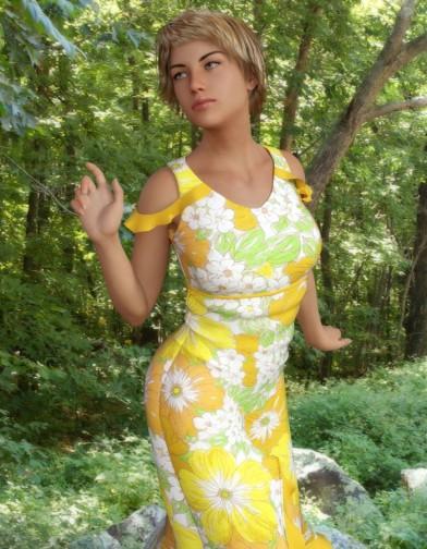 Spring Floral Sundress for Genesis 8 Female image