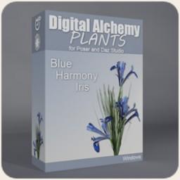 Digital Alchemy: Blue Harmony Iris Image