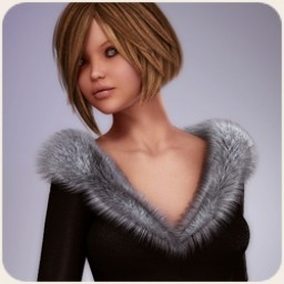 Classy Fur Trimmed Dress for V4
