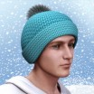 Winter Knit Hat with Pom Pom for M4